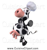 Cuisine Clipart of a 3d Excited Chef Cow Jumping by Julos