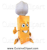 Cuisine Clipart of a 3d French Fry Character Chef Holding a Thumbs up by Julos