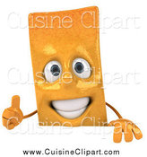 Cuisine Clipart of a 3d French Fry Character Holding a Thumb up over a Sign by Julos