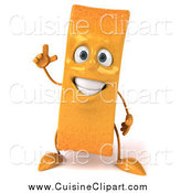 Cuisine Clipart of a 3d French Fry Character with an Idea by Julos