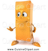 Cuisine Clipart of a 3d French Fry Gesturing to the Left by Julos
