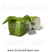 Cuisine Clipart of a 3d Genetically Modified Cubic Granny Smith Apple by Frank Boston