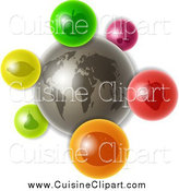 Cuisine Clipart of a 3d Gray Earth with Colorful Fruit Icons by Prawny