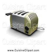 Cuisine Clipart of a 3d Green and Silver Toaster by KJ Pargeter