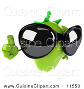 Cuisine Clipart of a 3d Green Bell Pepper Character Wearing Sunglasses and Holding a Thumb up by Julos