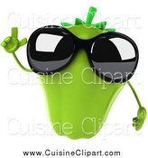 Cuisine Clipart of a 3d Green Bell Pepper Wearing Sunglasses by Julos