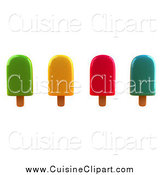 Cuisine Clipart of a 3d Group of Colorful Ice Lollies by Julos