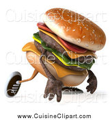 Cuisine Clipart of a 3d Hamburger Walking and Pouting by Julos