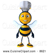 Cuisine Clipart of a 3d Happy Chef Bee Standing by Julos