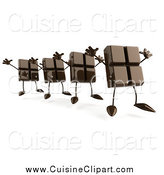 Cuisine Clipart of a 3d Line of Chocolate Candy Bar Characters Jumping by Julos