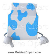 Cuisine Clipart of a 3d Milk Carton Pointing down to a Sign by Julos