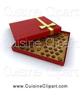 Cuisine Clipart of a 3d Open Red Box of Valentine's Day Chocolates by KJ Pargeter