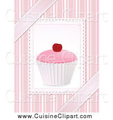 Cuisine Clipart of a 3d Pink Cupcake over Stripes and Ribbons by Elaineitalia