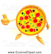 January 17th, 2014: Cuisine Clipart of a 3d Pizza Character Holding a Thumb up by Julos