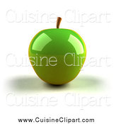 Cuisine Clipart of a 3d Shiny Green Apple by Julos