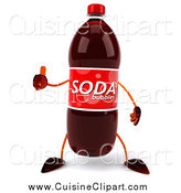 Cuisine Clipart of a 3d Soda Bottle Character Giving a Thumb up by Julos