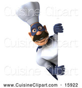 Cuisine Clipart of a 3d Super Chef Looking Around a Sign by Julos