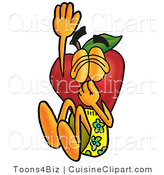 Cuisine Clipart of a Adventurous Nutritious Red Apple Character Mascot Plugging His Nose While Jumping into Water by Toons4Biz