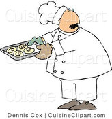 Cuisine Clipart of a Baker Looking over His Shoulder While Holding a Tray of Freshly Baked Cinnamon Buns by Djart