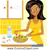 Cuisine Clipart of a Beautiful Woman Preparing a Salad and Supplements in a Kitchen by Amanda Kate