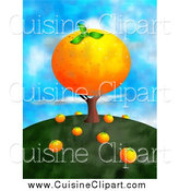 Cuisine Clipart of a Big Orange Tree on a Hill by Prawny