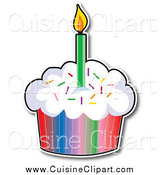 Cuisine Clipart of a Birthday Cupcake with a Colorful Wrapper and a Lit Candle by Maria Bell