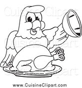 Cuisine Clipart of a Black and White Bald Eagle Hawk or Falcon Serving a Thanksgiving Turkey by Toons4Biz
