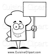 Cuisine Clipart of a Black and White Chef Hat Guy Holding a Blank Sign by Hit Toon