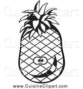 Cuisine Clipart of a Black and White Goofy Pineapple by David Rey