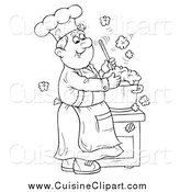 Cuisine Clipart of a Black and White Happy Chef Making Soup by Alex Bannykh
