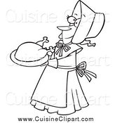 Cuisine Clipart of a Black and White Happy Lady Pilgrim Serving a Turkey by Toonaday