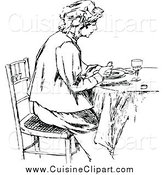 Cuisine Clipart of a Black and White Lady Eating at a Table by Prawny Vintage