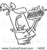 Cuisine Clipart of a Black and White Man Opening Wide for a Sandwich by Toonaday