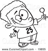 Cuisine Clipart of a Black and White Outlined Happy Black Boy Holding up a Lollipop by Toonaday