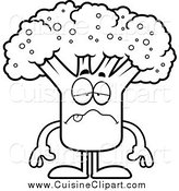 Cuisine Clipart of a Black and White Sick Broccoli Mascot by Cory Thoman