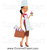Cuisine Clipart of a Black Female Chef Carrying Her Gear and a Cupcake by Monica