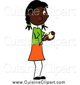 Cuisine Clipart of a Black Girl Standing and Eating a Sandwich by Pams Clipart