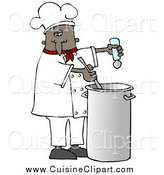 Cuisine Clipart of a Black Male Chef Seasoning Soup with a Salt and Stirring It While Cooking in a Kitchen by Djart