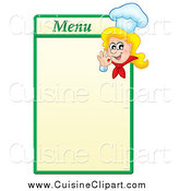 Cuisine Clipart of a Blond Female Chef Gesturing Ok on a Green and Yellow Menu Board by Visekart