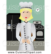 Cuisine Clipart of a Blond Female Chef Standing Proudly in Her Kitchen by Mheld