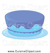 Cuisine Clipart of a Blue Cake with Incomplete Frosting by Graphics RF