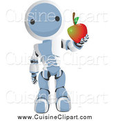 Cuisine Clipart of a Blue Robot Holding out an Apple by Leo Blanchette