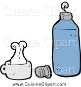 Cuisine Clipart of a Blue Thermos and Cup by Lineartestpilot