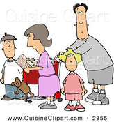 Cuisine Clipart of a Bored Family Grocery Shopping Together by Djart