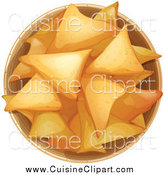 Cuisine Clipart of a Bowl of Fresh Tortilla Chips by Graphics RF