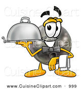Cuisine Clipart of a Bowling Ball Mascot Cartoon Character Dressed As a Waiter and Holding a Serving Platter by Toons4Biz