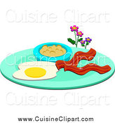 Cuisine Clipart of a Breakfast Plate with Eggs Bacon and Oatmeal by