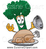 Cuisine Clipart of a Broccoli Character Serving a Cooked Thanksgiving Turkey in a Platter by Toons4Biz