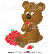 Cuisine Clipart of a Brown Bear Eating Strawberries by Alex Bannykh