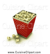 Cuisine Clipart of a Bucket of Buttery Movie Popcorn with Some Popcorn on the Counter by KJ Pargeter
